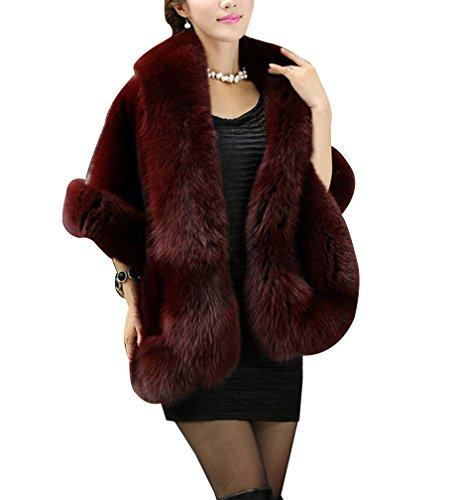 Laozan donna parka faux fur pelliccia ecologica cappotto giacca corta cape invernale one size vino rosso