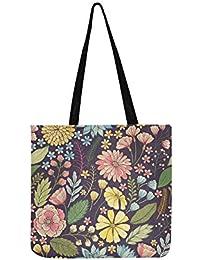 fb1b5ec5559b2 Handgezeichnete bunte Blumen Leinwand Tote Handtasche Schultertasche  Crossbody Taschen Geldbörsen für Männer und Frauen Einkaufstasche