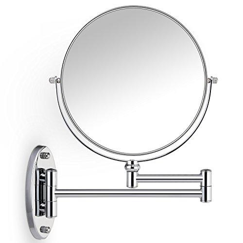 Miusco 7X Vergrößerung Doppelseitiger Schmink Make-Up Spiegel, 8 Zoll, Wandhalterung, rund, Chrom