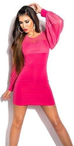 Sexy KouCla Minikleid mit Spitze und Strickkleid & Bauschige Ärmel., Pink