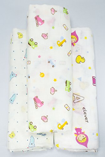 Rachna's Single Gauze Multi Print All Season Muslin Cotton Swaddle Wrapper Baby Blanket Set - 18401-100cms x 100cms - Pack of 3 (Print May Vary)