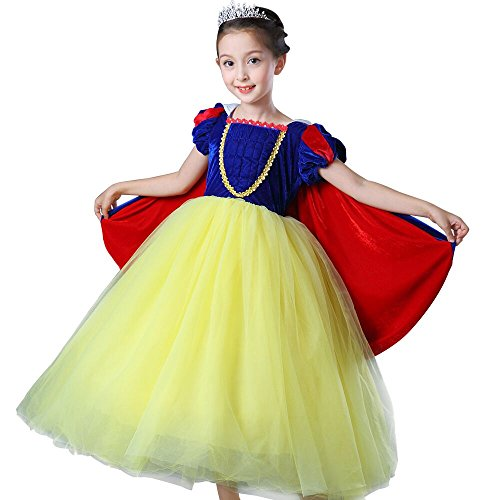 Snow Queen Dress Up Kostüm - Girl 's Princess Snow Queen Party Deluxe Kostüm Tüll Tutu Ankleidepuppen mit Umhang,