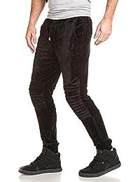 Project X - Pantalon de jogging noir velour biker