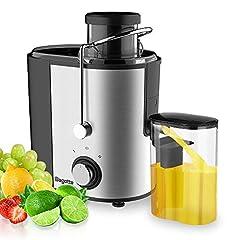 Idea Regalo - Bagotte Centrifuga Frutta e Verdura Professionale, 600W Estrattore di Succo a Freddo a 65MM Bocca Larga con 2 Velocità, Acciaio Inox, Facile Pulizia, Senza BPA