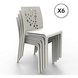 Shaf – Pack de 6 sillas de exterior/interior Cocktail. Color Blanco
