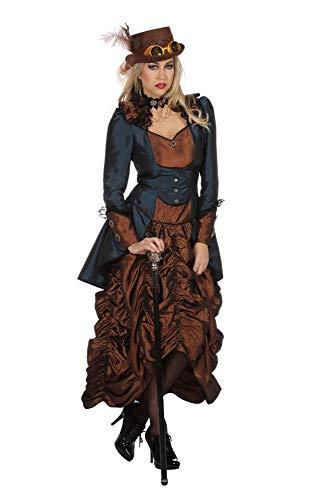 shoperama Steampunk Kleid Braun/Blau Damen-Kostüm Burning Man viktorianisch Industrial Retro-Futurismus hochwertig, Größe:44