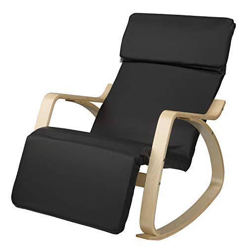 EUGAD 0021XXY Schaukelsuthl Schaukelsessel Schwingstuhl Relaxstuhl Sessel mit verstellbarem Fußteil Kunstleder Massivholz Grau