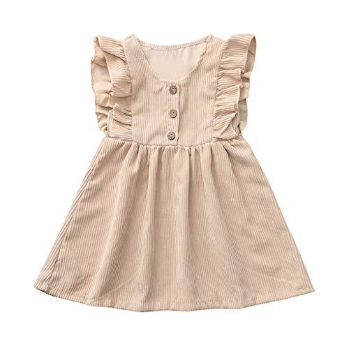 Dresses for Girls Mädchen Kleider Sommer Pwtchenty Ärmel Sommerkleid Rüschen Volltonfarbe Prinzessin Kleid Outfits Kleidung