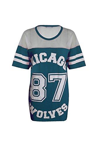 Fitted Dress Shirt (Damen Baggy Chicago 87 Wolves Baseball T-Shirt Oversize, Top Long, Aquamarin - Trikot Basketball Übergroß, S/M (EU 36/38))