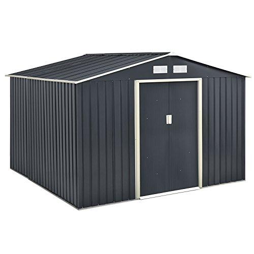 Juskys Metall Geräteschuppen Gerätehaus XXL mit Satteldach in Anthrazit