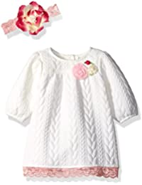 Youngland Baby Girls Jacquard Dress with Flower Headband