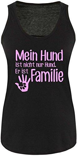 ezyshirt® Mein Hund ist nicht nur Hund! Er ist Familie Damen Tanktop Schwarz/Rosa