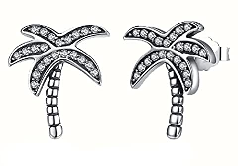 SaySure - 925 Sterling Silver Palm Tree Stud Earrings With Clear CZ