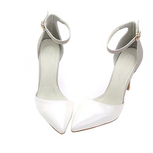 HooH Femmes Cuir Verni Boucle Cheville Stiletto Sandale Blanc