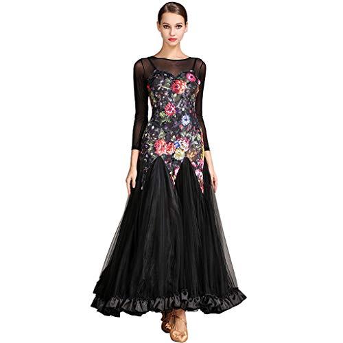 e Kleider Leistung für Frauen, Walzer Gesellschaftstanz Wettbewerb Langarm Druck Tüll Muster Spleiß (Color : Black, Size : M) ()
