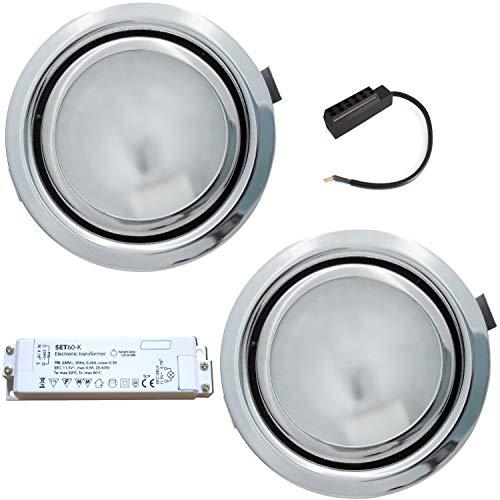 2 Stück Kleiner Möbelstrahler Milan 12 Volt 10 Watt inkl. Kabel mit AMP Stecker und Trafo - Farbe Chrom -