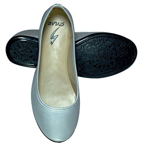 Stylar glisser sur ballerine loafer taille de shoes- plat des femmes disponibles Argent