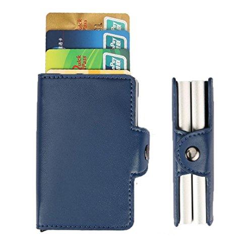 Espresso-maschine-paket (sunnymi Mode ★ Visitenkartenhalter ★Praktische ID Kreditkartenschutz Leder/Frauen Männer Geldbörse Paket Box Ordner ändern (Blau))
