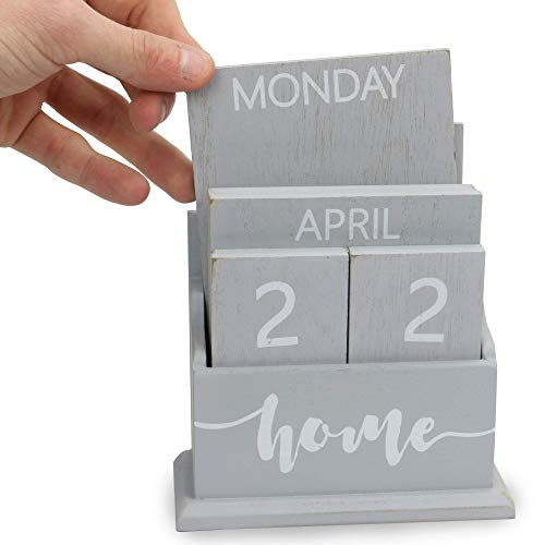 Wooden Vintage Perpetual Calendar | Stylish Eternal Desk Calendar | Lift 'n' Flip Block Design | Perfect for Home or Office | M&W (Grey)