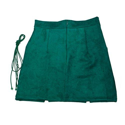 Femmes Dames Taille Haute Jupe Crayon Bodycon hibote Daim Cuir Mini Jupe Club Vert