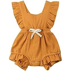 Body Infantil para bebés, bebés recién Nacidos con Volantes Mamelucos sin Mangas Mono Trajes Ropa (80cm (6-12meses), Naranja)