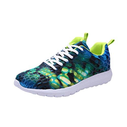 FNKDOR Bunt Walkingschuhe Unisex Turnschuhe Laufschuhe Sportschuhe Atmungsaktive Camouflage Schuhe(EU:44 (CN:46),Blau)