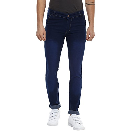Urbano Fashion Men's Dark Blue Slim Fit Stretch Jeans