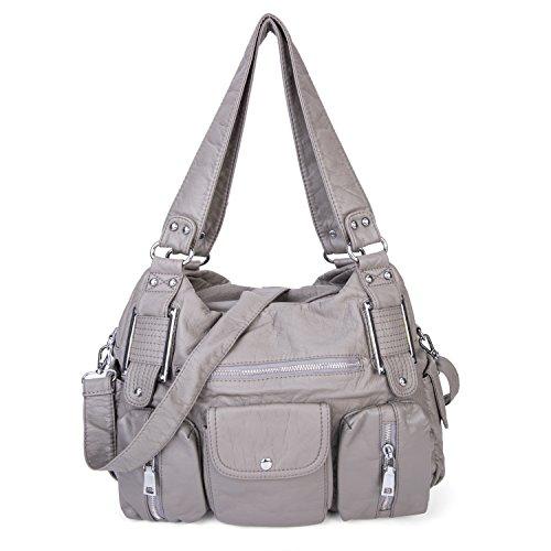 Große Damen Handtasche PU Leder Schultertasche Umhängetasche Crossbody Reisetasche für Frauen Mädchen - Grau