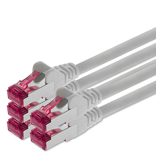 1aTTack.de 3m - weiß - 5 Stück - Netzwerkkabel CAT6a (10Gb/s) S-FTP CAT 6a Lankabel - GHMT Zertifiziert PIMF 500 MHz kompatibel zu CAT 5e CAT 6 CAT7 für Switch, Router, Modem, Internet (Wireless-modems Für Internet)