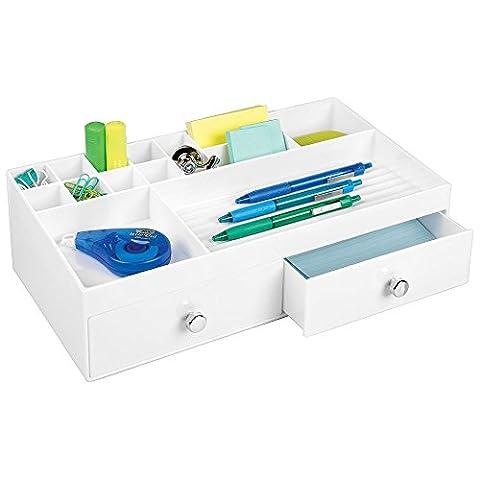 Organiseur de bureau mDesign pour fournitures telles que les ciseaux, stylos, surlilgneurs, blocs notes, ruban adhésif - 2 larges tiroirs, blanc