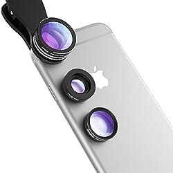 Lenti Smartphone Mpow 3 in 1 Lenti Kit Clip-On Lente Fisheye Suprema 180 Gradi + Lente Grandangolo 0.67X + Lente Macro 10X, Obiettivi Cellulari per iPhone 6s / 6s Plus, iPhone 6 / 6 Plus, Samsung Galaxy S6 Edge+ / S6 Edge / S6 / S5 / S4 / S3 HTC, Sony Xperia, Huawei ed altri Smartphone