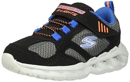 Skechers Boys' Magna-Lights Trainers, Black Synthetic/Gray Mesh/Orange & Blue Trim Bbor, 6 23 EU