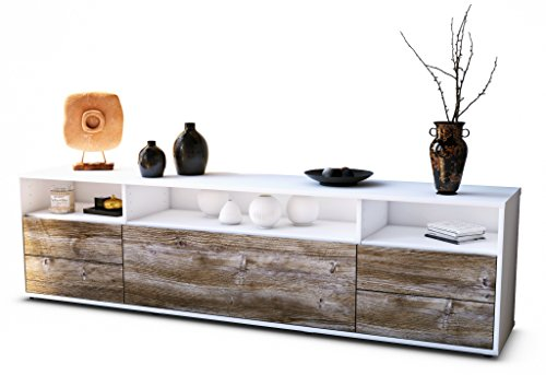 Stil.Zeit TV Schrank Lowboard Bella, Korpus in Weiss Matt/Front im Holz-Design Treibholz (180x49x35cm), mit Push-to-Open Technik und Hochwertigen Leichtlaufschienen, Made in Germany