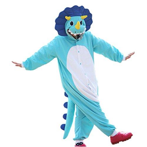 Kostüm Biber Für Erwachsene - dressfan Animal Overall Triceratops nachtwäsche Erwachsene Pyjamas Unisex Polar Fleece Cosplay kostüme Leistung kostüm (gelb/blau)