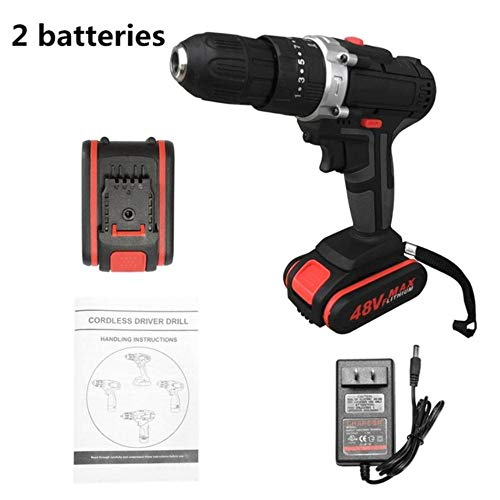 fish Multifunctional 48V Lithium Battery Power Drills Cordless Rechargeable Electric Drill Hand Drils Home DIY Electric Power Tools,Orange/Black,EU -