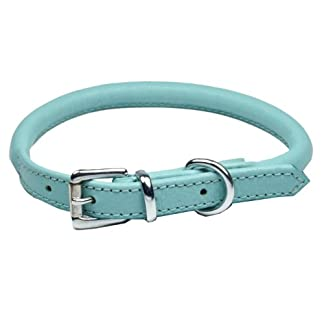 "Ace Dog Collars Super Soft Best Rolled Leather Dog Collar Baby Blue : XX Small 12"" (30 cm): will fit 22 cm to 26 cm (Thickness 6 mm). 7"