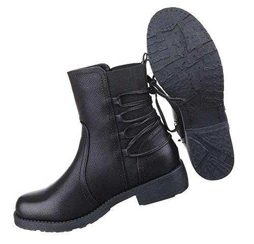Damen Boots Stiefeletten Schuhe Mit Schnürung Schwarz 36 37 38 39 40 41 Schwarz