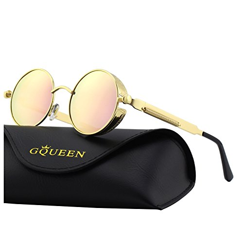Gqueen occhiali da sole retro uomo e donna rotondi steampunk polarizzati in metallo con protezione uv400 mts2