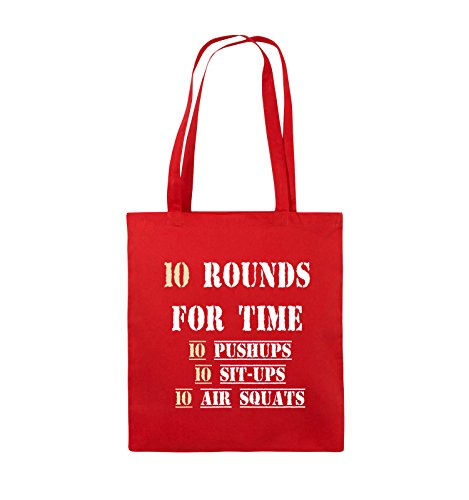 Comedy Bags - 10 Rounds for time 10 pushups 10 sit ups 10 air squats - Jutebeutel - lange Henkel - 38x42cm - Farbe: Schwarz / Weiss-Neongrün Rot / Weiss-Beige