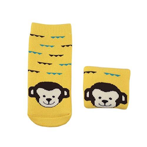 YiyiLai 1 Paare Cartoon Form 0-3 Jahres Baby Junge Mädchen Socken Füßlinge Erstlingssöckchen Wintersocken S Gelb Affe