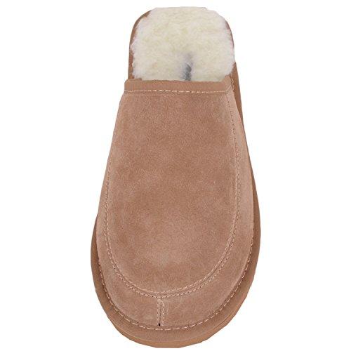 Snugrugs Unisex-Erwachsene Suede With Wool Lining and Rubber Sole Hausschuhe, 37 EU Braun (Camel)