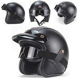 Casco de Moto Chopper Bike Helmet Cascos de Cuero 3/4 Casco de Motocicleta Vintage de Cara Abierta con máscara de Gafas
