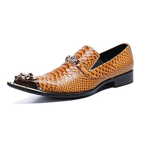 XLY Herren Tuxedo Oxford Leder Slipper, Smooth Faux Snake Print Metallspitze Formal Business Hochzeitskleid Schuhe,43 Oxford Tuxedo