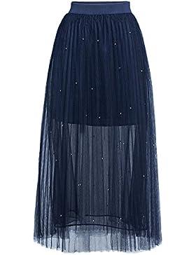Quge Mujer Falda De Tul Larga Plisada Tutu Malla 2 Capas Rebordear Faldas De Cintura Alta