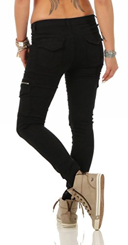 5778 Fashion4Young Damen Jeans Röhrenjeans Hose Stretch-Denim Boyfriend Röhre Damenjeans Schwarz