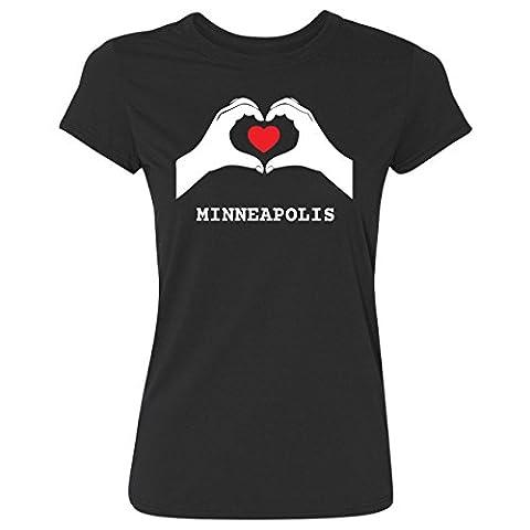 JOllify Frauen T-Shirt MINNEAPOLIS G4382 - Farbe: schwarz - Design 7: Hände Herz - Größe L
