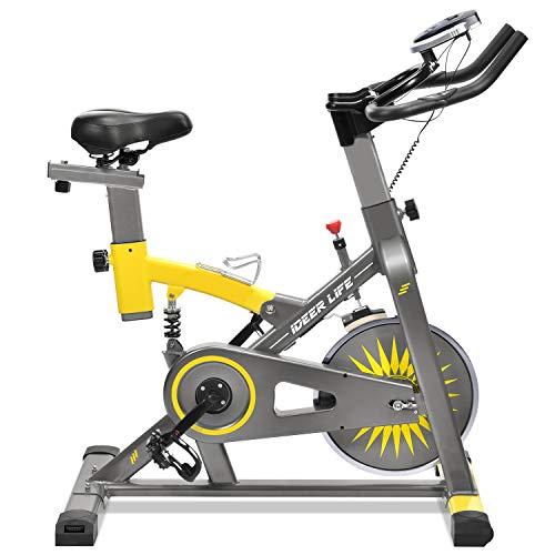 IDEER LIFE Speedbike, Indoorcycling Bike, Spinning Bike, Heimtrainer Fahrrad, Fitness Gerät für Zuhause, 15KG Schwungrad (09061-Gelb) (Indoor Bike Fitness)
