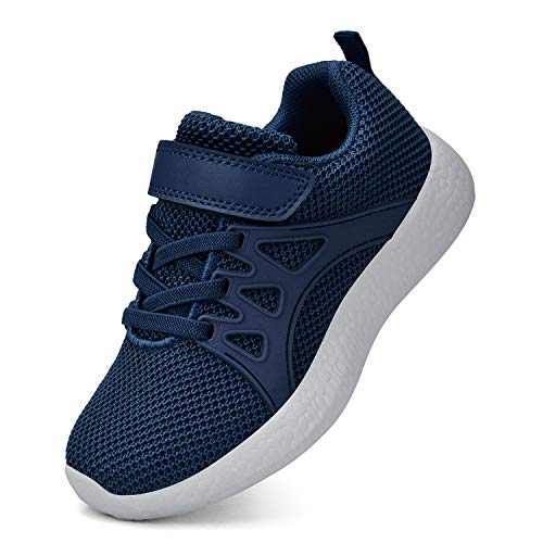 ZOCAVIA Unisex-Kinder Tennisschuhe Laufschuhe Leicht Komfortable Turnschuhe Sneaker Blau-grau 29 EU(Herstellergröße: 30)