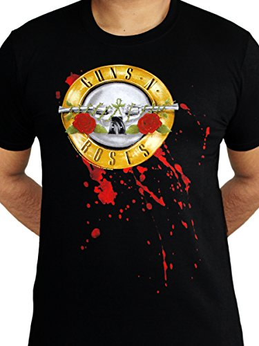 Guns N Roses Logo Blood Stain Bullet Official Rock Metal Music Mens Black T-Shirt