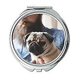 Yanteng Spiegel, Compact Mirror, Mops Hund Drucken Corgi, Taschenspiegel, 1 X 2X Lupe